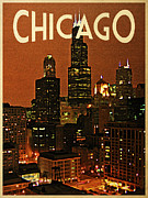 Chicago Digital Art Metal Prints - Chicago At Night Metal Print by Vintage Poster Designs