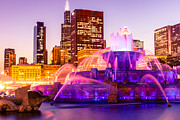 Popular Art - Chicago at Night with Buckingham Fountain by Paul Velgos