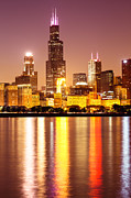 Architecture Metal Prints - Chicago at Night with Willis-Sears Tower Metal Print by Paul Velgos