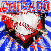 Baseballs Digital Art Posters - Chicago Baseball Abstract Poster by David G Paul