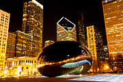Chicago Bean Cloud Gate At Night Print by Paul Velgos