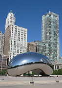 Landmarks Pyrography Posters - Chicago Bean Poster by Wendy Jackson