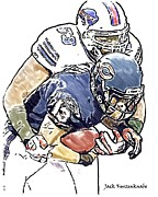 Buffalo Bills Prints - Chicago Bears Johnny Knox - Buffalo Bills Reggie Torbor Print by Jack Kurzenknabe