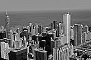 Chicago Skyline Black White Posters - Chicago Birdview Poster by Miranda  Miranda