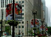 Lamp Post Framed Prints - Chicago Blackhawk Flags Framed Print by Ely Arsha