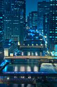 Cities Tapestries Textiles Originals - Chicago Bridges by Steve Gadomski