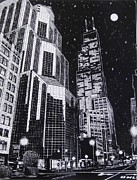 Night Drawings Prints - Chicago Print by Bruce Kay