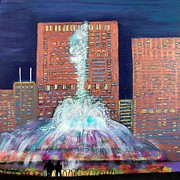 Abstract Fountain Mixed Media Framed Prints - Chicago Buckingham Fountain at Night Framed Print by Char Swift