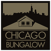 Chicago Digital Art Metal Prints - Chicago Bungalow Metal Print by Geoff Strehlow