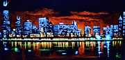 City Skylines Paintings - Chicago by Black Light by Thomas Kolendra