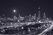 Moon Light Metal Prints - Chicago By Night Metal Print by Steve Gadomski