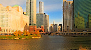Chicago Digital Art Metal Prints - Chicago by Train Metal Print by Geoff Strehlow