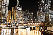 Airlines Framed Prints - Chicago City at Night Framed Print by Paul Velgos