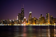 Popular Art - Chicago City at Night Photo by Paul Velgos