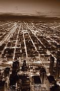 Aerial Posters - Chicago City Lights West B W Poster by Steve Gadomski