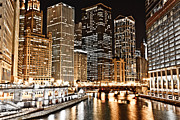 Airlines Posters - Chicago City Skyline at Night Poster by Paul Velgos
