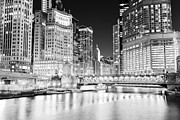 Chicago Black White Posters - Chicago Cityscape at Night at DuSable Bridge Poster by Paul Velgos