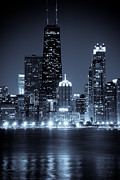 Chicago Black White Posters - Chicago Cityscape at Night Poster by Paul Velgos