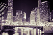 Purple Building Framed Prints - Chicago Cityscape at State Street Bridge Framed Print by Paul Velgos