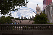 Railing Prints - Chicago Cloud Gate Bean Sculpture Print by Paul Velgos