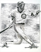 National League Drawings Acrylic Prints - Chicago Cub Leon Durham Acrylic Print by Vincent Wolff