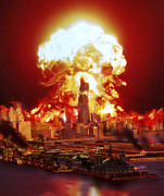 Cataclysm Prints - Chicago Disintegrates As A Nuclear Print by Ron Miller