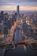 Chicago Photography Posters - Chicago Downtown - Aerial View Poster by Berthold Trenkel