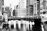 Carbon Prints - Chicago Downtown at Clark Street Bridge Print by Paul Velgos