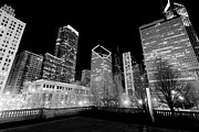 Center City Photo Prints - Chicago Downtown at Night  Print by Paul Velgos