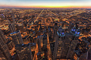 Downtown District Posters - Chicago Downtown At Sunset Poster by Www.sand3r.com