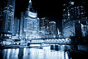 Chicago Black White Posters - Chicago Downtown Loop at Night Poster by Paul Velgos