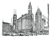 Buildings Drawings Framed Prints - Chicago Downtown Framed Print by Robert Birkenes