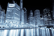 Chicago Black White Posters - Chicago Downtown Skyline at Night Poster by Paul Velgos