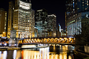 Michigan Avenue Posters - Chicago Dusable Michigan Avenue Bridge at Night Poster by Paul Velgos