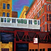 Loop Paintings - Chicago El Train by Char Swift