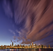 Skylines Digital Art Prints - Chicago Evening 3 Print by Donald Schwartz
