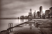John Hancock Building Prints - Chicago Foggy Lakefront BW Print by Steve Gadomski