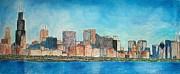 Chicago Drawings Metal Prints - Chicago from the Adler Planetarium Metal Print by Jacob Stempky