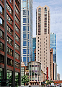 Iconic Structures Prints - Chicago - Goodman Theatre Print by Christine Till