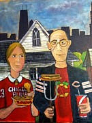 Bulls Painting Posters - Chicago Gothic Poster by Richard  Hubal