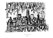 Chicago Black White Drawings Posters - Chicago Great Fire of 1871 Serigraph of Skyline Buildings Sears Tower Lake Michigan Hancock BW Poster by M Zimmerman