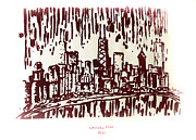Serigraph Originals - Chicago Great Fire of 1871 Serigraph of Skyline Buildings Sears Tower Lake Michigan John Hancock  by M Zimmerman