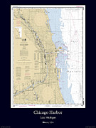 Nautical Chart Photos - Chicago Harbor by Adelaide Images