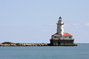 Guard Metal Prints - Chicago Harbor Light Metal Print by Christine Till