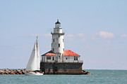 Red Buildings Posters - Chicago Harbor Lighthouse Poster by Christine Till