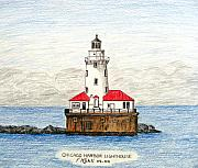 Landscape Drawings Posters - Chicago Harbor Lighthouse Poster by Frederic Kohli
