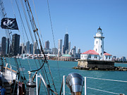 Flag Pyrography Prints - Chicago Harbor Lighthouse Print by Sonia Flores Ruiz