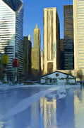 Skating Mixed Media - Chicago Ice Rink by Renee Skiba