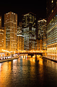 Evening Glow Posters - Chicago Illinois at Night Poster by Paul Velgos