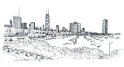 Chicago Drawings Prints - Chicago Lake Front  Print by Robert Birkenes